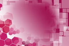 pink hexagon with white squares, abstract background Stock Photo