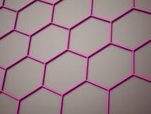 Pink hexagonal mesh rendered on dark Stock Photo