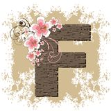 Pink hibiscus alphabet F. Pink hibiscus grunge vintage alphabet F Royalty Free Stock Photos