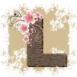 Pink hibiscus alphabet L. Pink hibiscus grunge vintage alphabet L Royalty Free Stock Image