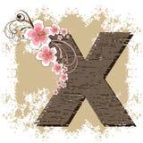 Pink hibiscus alphabet X Royalty Free Stock Image