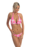 Pink Hibiscus Bikini Blonde royalty free stock photos