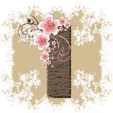 Pink hibiscus vintage alphabet I. Pink hibiscus grunge vintage alphabet I Stock Photo