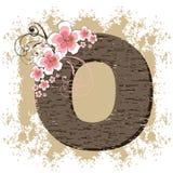 Pink hibiscus vintage alphabet O. Pink hibiscus grunge vintage alphabet O Royalty Free Stock Images