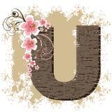 Pink hibiscus vintage alphabet U Royalty Free Stock Image