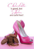Pink High Heel Shoes and Chocolate Quote Royalty Free Stock Photos