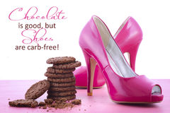 Pink High Heel Shoes and Chocolate Quote Royalty Free Stock Photography