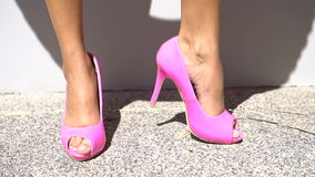 Pink high heel shoes stock video footage