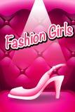 Pink high heel in spotlight Stock Photos