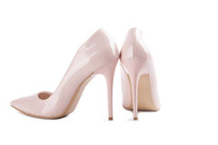 Pink high heel women shoes on white background Stock Photography