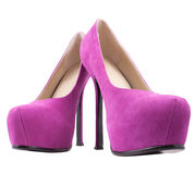 Pink  high heeled shoes on white Royalty Free Stock Photography