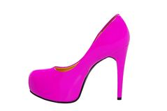 Pink high heeled woman shoe isolated on white Stock Image