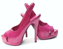 Pink high heels. Classy pink high heels on a white background stock photo