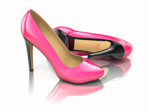 Pink high heels shoe. 3d Stock Photography