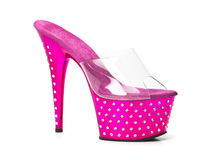 Pink high heels shoes with platform and rhinestones Stock Photos