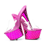 Pink high heels shoes with platform and rhinestones. Fetish style high heels shoes in pink with platform sole, stiletto in clear plastic and rhinestone Stock Photography