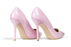 Pink high hell shoes Royalty Free Stock Images