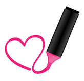 Pink highlighter with heart Royalty Free Stock Photo