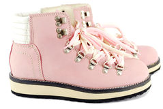 Pink hiking boots Royalty Free Stock Images