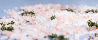 Pink himalayan salt with herb Blue background Royalty Free Stock Images
