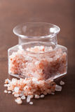 Pink himalayan salt in jar Stock Photos