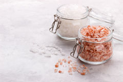 Pink himalayan salt. Over white stone background, close up top view with space for text Stock Photo