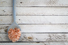 Pink Himalayan Salt on a Spoon with Copy Space Stock Photography