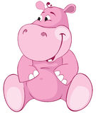 Pink hippopotamus - first teeth. Color illustration Royalty Free Stock Photography