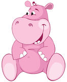 Pink hippopotamus - first teeth. Color illustration Stock Images