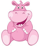 Pink hippopotamus - first teeth. Color illustration Royalty Free Stock Photos