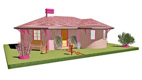 Pink Home-3d Stock Images