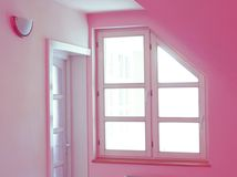 Pink home interior. With door and window Stock Images