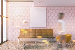 Pink honeycomb living room, poster, woman blur Stock Images