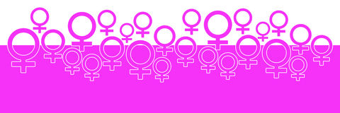 Pink Horizontal Background With Female Symbol Royalty Free Stock Images