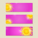 Pink Horizontal Banner or Card Set with Yellow Sun Royalty Free Stock Images
