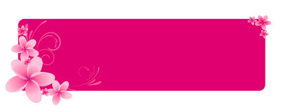 Pink horizontal banner with flowers