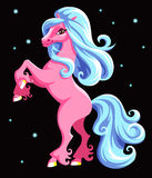 Pink horse. New Years pink horse on a black background Stock Photography