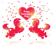 Pink horses silhouettes with hearts. Valentine's day vector illustration. Horse in jump. Lights. Invitation or greeting card Royalty Free Stock Photo