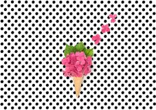 Pink hortensia flowers ice cream waffle cone Flat lay Minimal co. Pink hortensia flowers in ice cream waffle cone on polka dot background. Flat lay. Minimal Royalty Free Stock Photo