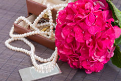 Pink hortensia flowers and jawel box Royalty Free Stock Photos