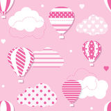 Pink hot air balloons pattern Royalty Free Stock Photos
