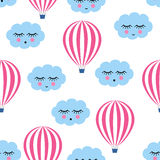 Pink hot air balloons with smiling sleeping clouds seamless pattern. Cute baby shower vector background. Child drawing style sky Royalty Free Stock Images