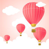 Pink Hot Air Card. Vector Royalty Free Stock Photography