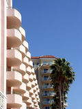Pink Hotel. Verandas overlooking bay in luxury hotel, Florida Stock Images