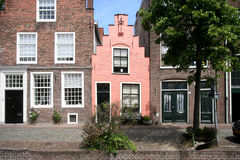Pink House. On Dutch Canal in Leiden, Holland Stock Image