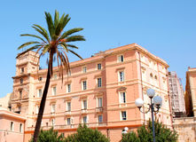 Pink house. And palm tree in Cagliari, Italy Stock Photography
