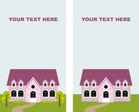 Pink house. With lawn and trees royalty free illustration