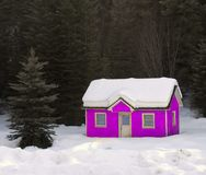 Pink House Buried in Snow Royalty Free Stock Image