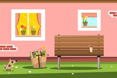 House Wall with Windows and Bench. Pink House Facade with Windows and Bench Stock Image