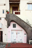 Pink house and grey stair Stock Photo